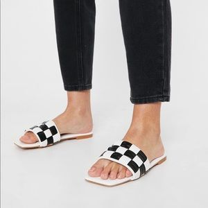 Faux Leather Check Two Tone Sandals